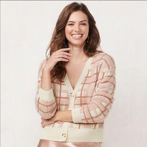 Lauren Conrad Pink Plaid Fuzzy Cardigan